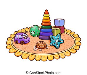 Many bright children's toys on a round rug in the nursery. Vector illustration suitable for kids magazine or coloring