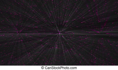 Many bright rays of light in dark space, abstract computer generated backdrop, 3D render