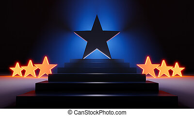 Many Bright Stars, One Big Star - A 3d illustration of a ...