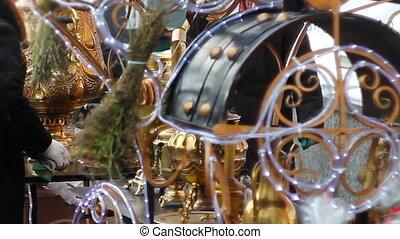 many brilliant metal samovars at the celebration of the city holiday.