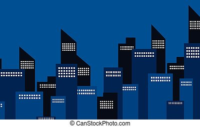 Many building city of silhouette