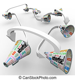 Many bullhorns or megaphones with the word Advertise and...