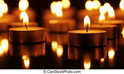 Many burning candles