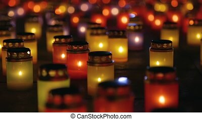Many burning lanterns on memory.