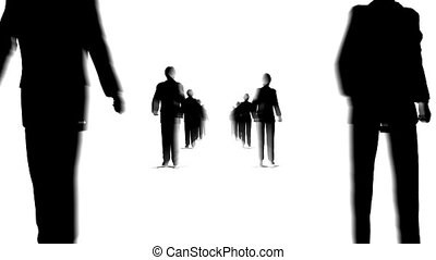 many business couple walking looping moving camera silhouette light