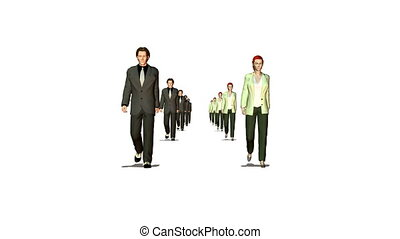 many business couple walking looping moving camera