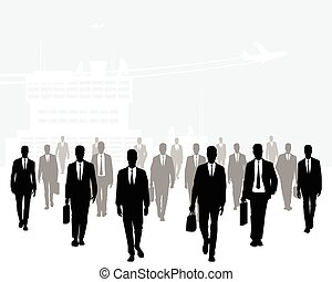 Many businessmen going