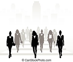 Vector illustration of many businesswomen going forward