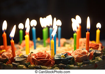 birthday cake - Many candels in birthday cake