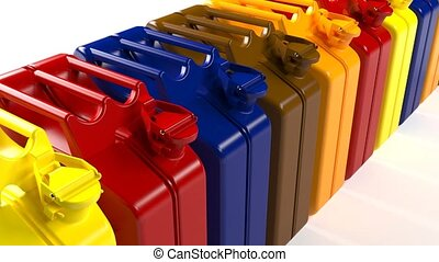 Many canisters with different types of fuel. Gasoline,...