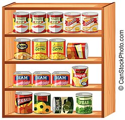 Many canned food on wooden shelves
