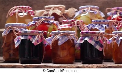 Many canned fruits and vegetables. - Many canned fruits and...