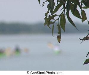 Many canoe sailing lake.