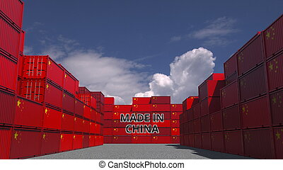 Many cargo containers with MADE IN CHINA text and national flags. Chinese import or export related 3D rendering