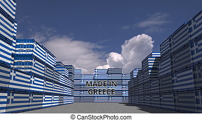 Many cargo containers with MADE IN GREECE text and national flags. Greek import or export related 3D rendering