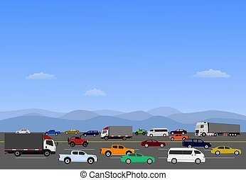 Many cars are driving on highways with mountains and blue sky in the background.