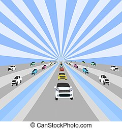 Many cars are running on the longest road. With a white and blue horizon as the background
