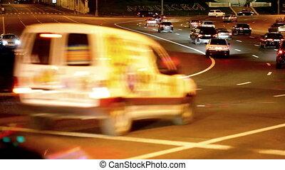 Many cars go on night street