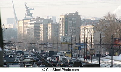 Many cars on road in winter Moscow time lapse