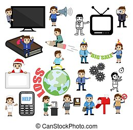 Many Cartoon Concepts Vectors