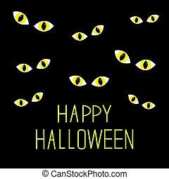 Many cat eyes in dark night. Happy Halloween card. Flat design.