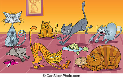 many cats at home - Cartoon Illustration of Many Naughty...