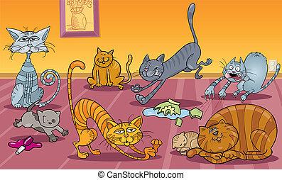 many cats at home - Cartoon Illustration of Many Naughty...