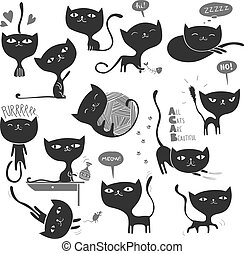 many cats.eps - Collection of 13 cute and playful cats in...