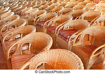Many chairs on patio