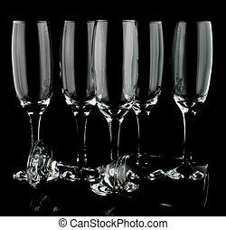 Many champaign flutes