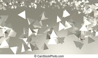 Many chaotic low poly shapes pyramids for technology...