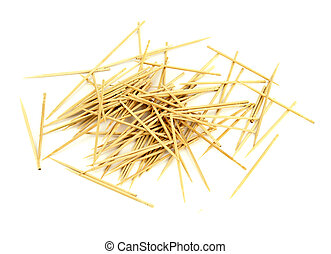 Many chaotic scattered toothpicks, isolated on white