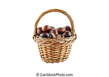 Many chestnuts in crib isolated on white background