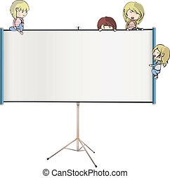 Many children around projector screen. Vector design.