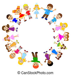 many children got up in a circle on a white background, ...