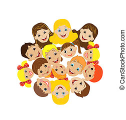 many children got up in a circle on a white background,...