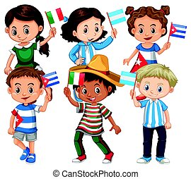 Many children holding flag from different countries
