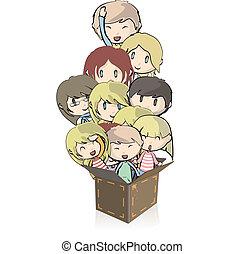 Many children in box