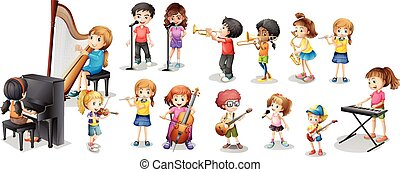 Many children playing different musical instruments...