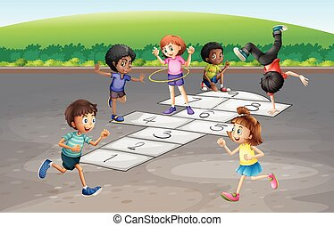 Many children playing hopscotch in the park