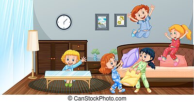 Many children playing in bedroom