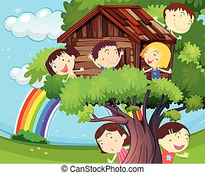 Many children playing on treehouse