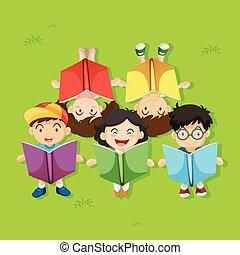 Many children reading books in the park