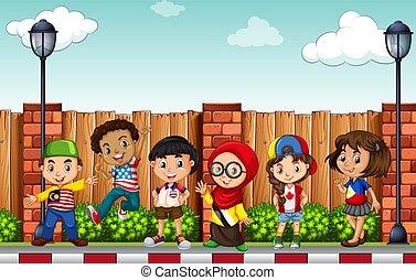 Many children standing on pavement illustration