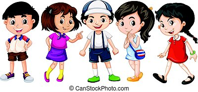 Many children with big smile illustration