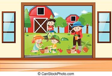 Many children working in the garden