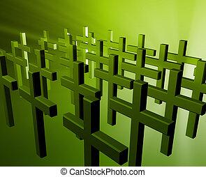 Many christian crosses - Many christian church crosses in...