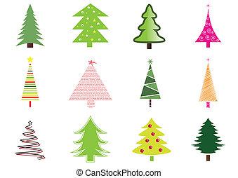 Many christmas trees isolated