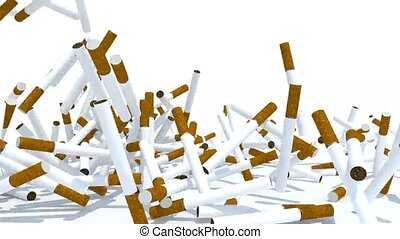 many cigarettes fall on white background