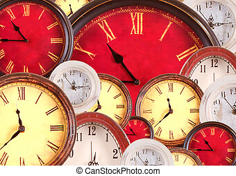 Many vintage clocks filling background